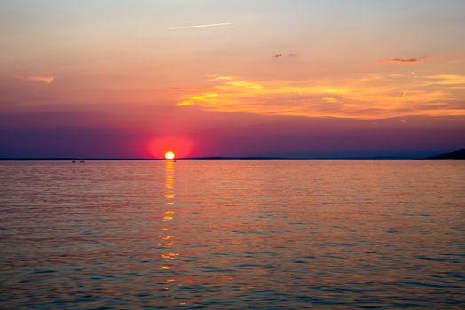 Beautiful Sunset Over Adriatic Sea Near Starigrad In Croatia