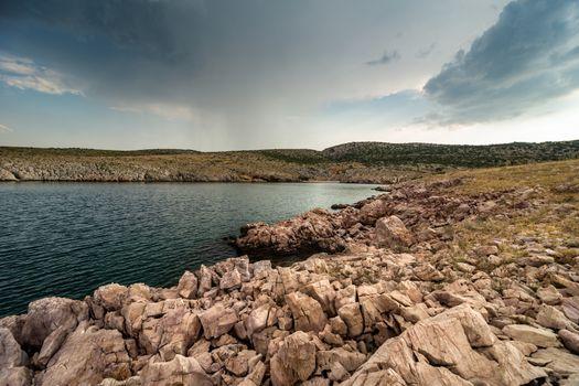 Rain Clouds Over Adriatic Sea Bay In Dalmatia, Croatia