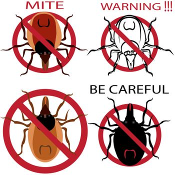 A set of warning sign. Spider mites. Red mite. Mite allergy. Epidemic. Mite parasites. Vector illustration