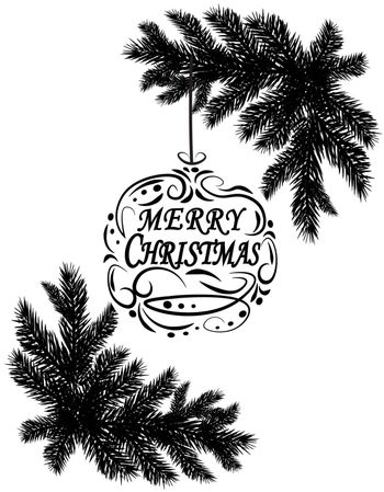 Two black and white fir branches. Placed in the corners. Isolated on white background. Christmas vector illustration