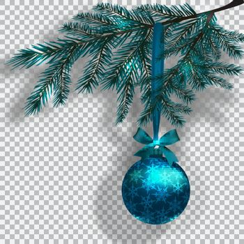 Blue Christmas tree branches on a checker background with shadow. Ball with snowflakes and bow. Christmas decorations. Vector illustration