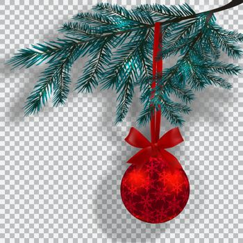 Blue Christmas tree branches on a checker background with shadow. Red ball with snowflakes and ribbon bow. Christmas decorations. Vector illustration