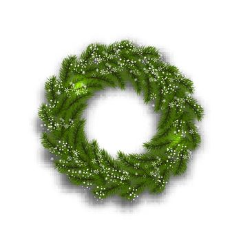 Green tree branch in the form of a Christmas wreath and snowflakes on a white background. Vector illustration