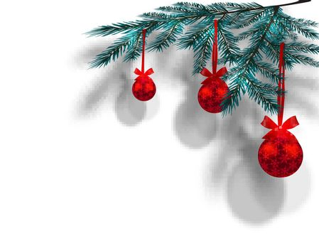 Blue Christmas tree branches on an isolated white background with the shadow in perspective. Three red balls with snowflakes and ribbon bow. Vector illustration