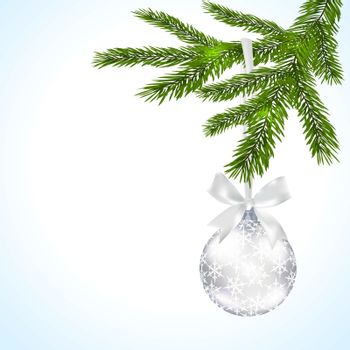 Green tree branch with silver ball and ribbon on a white background. Ball decorated with snowflakes. Vector illustration