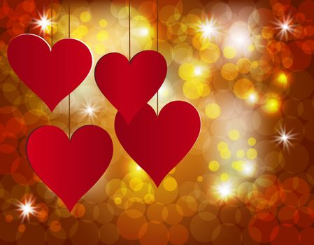 Red heart on a celebratory background. Postcard in honor of Valentine s Day. Vector illustration