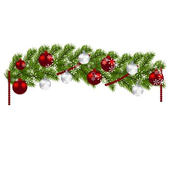 Christmas decoration. Green branches of a Christmas tree with red and silver balls and snowflakes on a white background. New Year decoration. Vector illustration