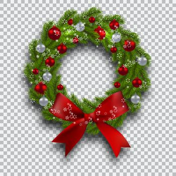 Green tree branch in the form of a Christmas wreath with shadow and snowflakes. Red and silver balls checker background. Vector illustration
