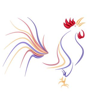 Stylized rooster isolated on a white background. 2017 fiery red rooster. vector illustration