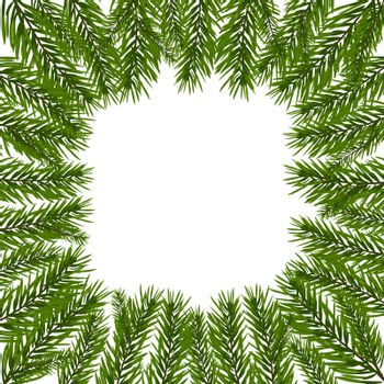 Green, realistic fir branches. Spruce branch in a circle. Isolated on white background. Christmas vector illustration