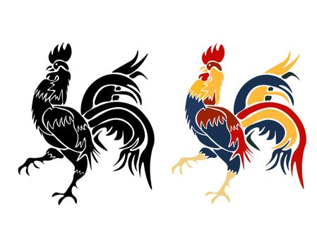 Black and roosters painted on a white background isolated. 2017 fiery red rooster. vector illustration