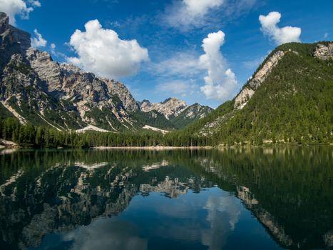 Pragser Wildsee in the Dolomites, South Tyrol