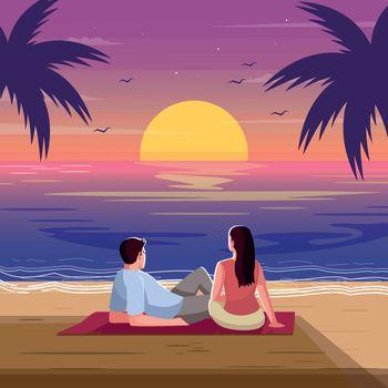 Romantic sunset semi flat vector illustration