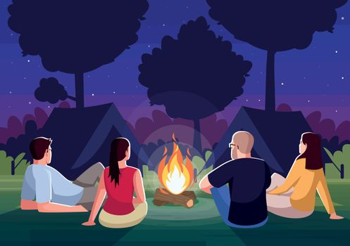Camping at night semi flat vector illustration