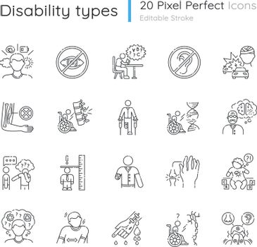 Disability types linear icons set