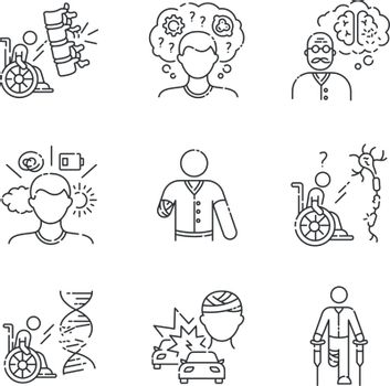 Patient with disability linear icons set