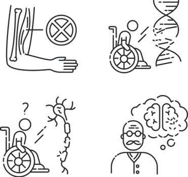 Disability linear icons set