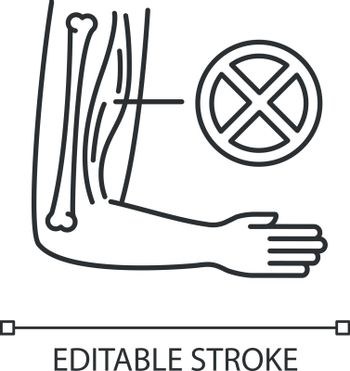 Muscular dystrophy linear icon. Chronic genetic disorder. Tissue damage in human arm. Thin line customizable illustration. Contour symbol. Vector isolated outline drawing. Editable stroke