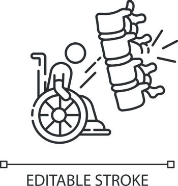 Spine injury linear icon. Fractured vertebrae. Handicapped patient in wheelchair. Health problem. Thin line customizable illustration. Contour symbol. Vector isolated outline drawing. Editable stroke