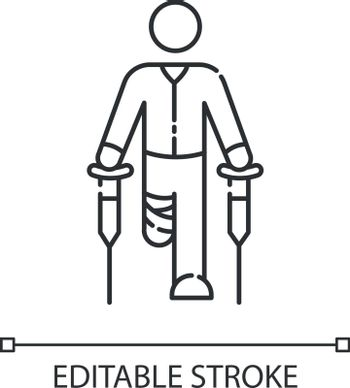 Leg amputee linear icon. Disabled man with crutches. Rehabilitation for handicapped person. Thin line customizable illustration. Contour symbol. Vector isolated outline drawing. Editable stroke