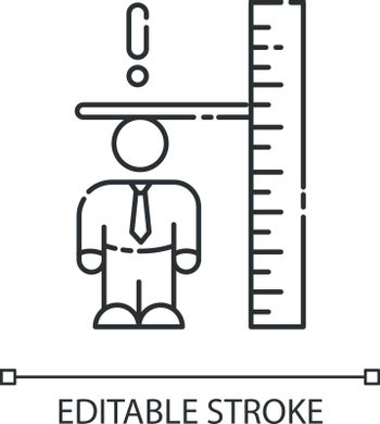 Dwarfism linear icon. Chronic genetic condition. Person with short height. Measure of businessman. Thin line customizable illustration. Contour symbol. Vector isolated outline drawing. Editable stroke