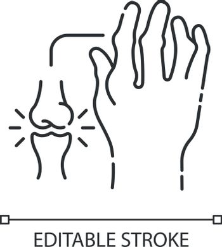 Rheumatoid arthritis linear icon. Pathological disease. Damaged bones in hand. Thin line customizable illustration. Contour symbol. Vector isolated outline drawing. Editable stroke