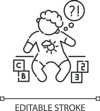 Developmental delay linear icon. Child with difficulty of learning. Cognitive ability problem. Thin line customizable illustration. Contour symbol. Vector isolated outline drawing. Editable stroke