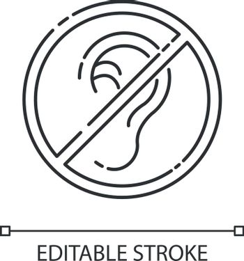 Deafness linear icon. Impaired hearing. Difficulty with communication. Deaf person. Thin line customizable illustration. Contour symbol. Vector isolated outline drawing. Editable stroke