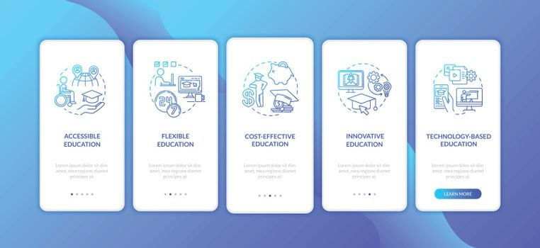 Distance learning pros onboarding mobile app page screen with concepts. Technology based education walkthrough 5 steps graphic instructions. UI vector template with RGB color illustrations