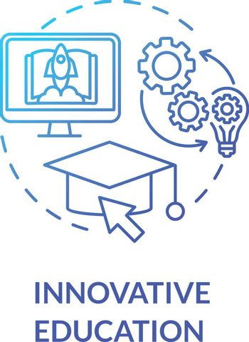 Innovative education concept icon. Elearning and digital learning. Nontraditional educational environment idea thin line illustration. Vector isolated outline RGB color drawing