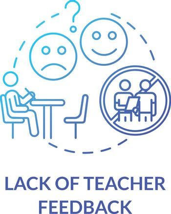 Lack of teacher feedback concept icon. Remote classes. Students evaluation. Distance learning environment. Homeschooling idea thin line illustration. Vector isolated outline RGB color drawing