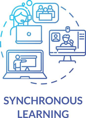 Synchronous learning concept icon. Distance courses. Remote education. Education technologies. E learning environment idea thin line illustration. Vector isolated outline RGB color drawing