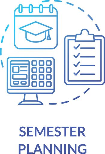 Semester planning concept icon. Remote education. Academic program. Distance learning process. Students time planner idea thin line illustration. Vector isolated outline RGB color drawing