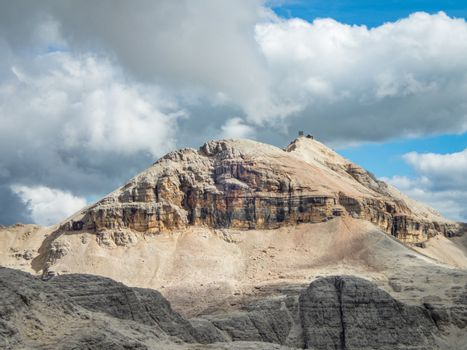 Pisciadu via ferrata of the Sella group near Piz Boe