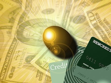 Golden egg, cash and credit cards. 3D rendering.