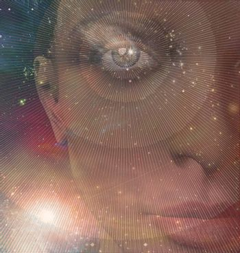 Womans face in eternal universe