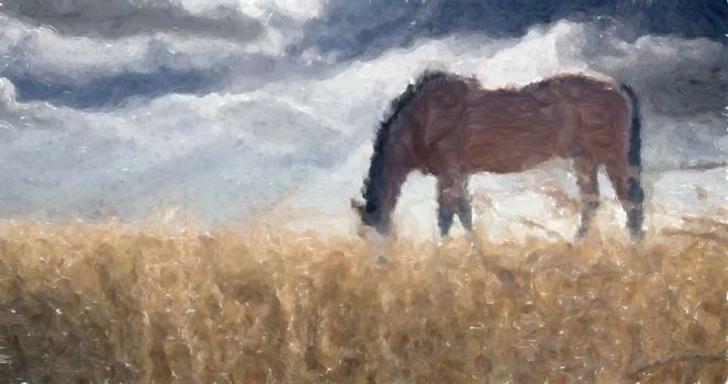 Painting. Horse in the field.