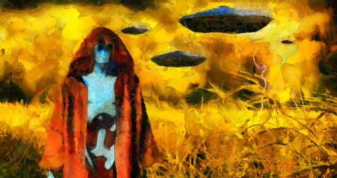 Surreal painting. Android in cloak stands in field of wheat. Flying saucers in the sky. Brush strokes.