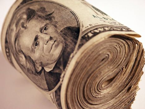Twenty dollars banknotes money roll.