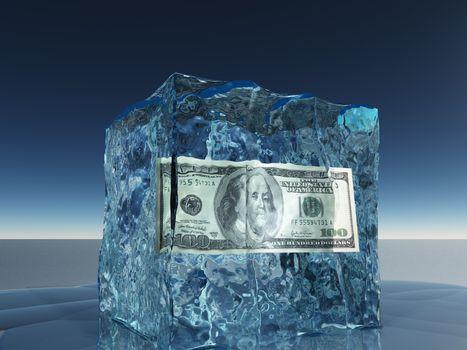 One hundred dollar bill frozen in ice cube