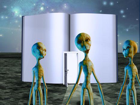 Aliens before opened book with door