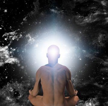 Surrealism. Naked man in lotus pose sits before endless universe.