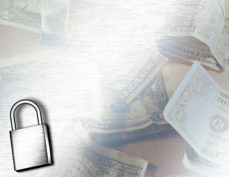 Iron lock on dollars background