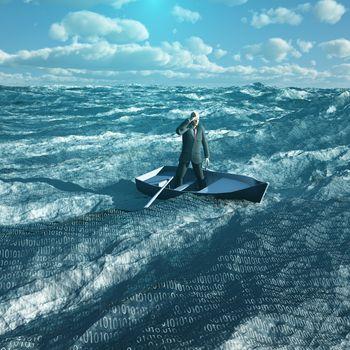 Man drift in tiny baot in binary ocean