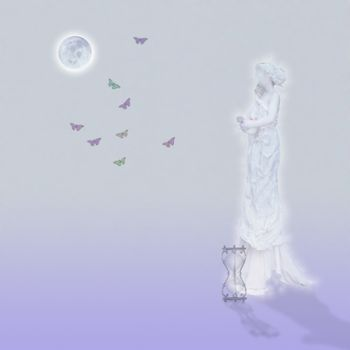 Marble statue in moonlight