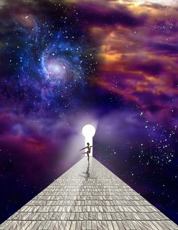 Dancer on stone road with keyhole in vivid universe