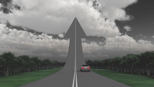 Car on a road in a shape of arrow.