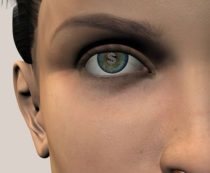 Womans face with dollar sign in eye