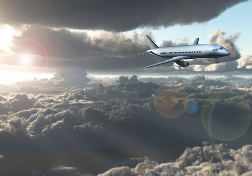 Jet Aircraft flying between clouds. 3D rendering