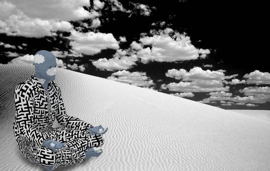 Surrealism. Figure of man in suit with maze pattern sits  in lotus pose in white desert.